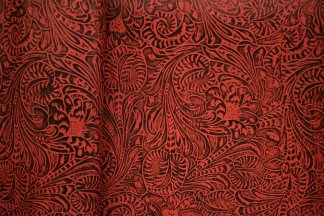 Red Western Floral Leather