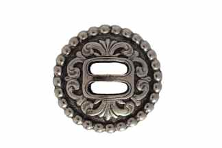 round concho, nickel concho, slotted concho, rope border