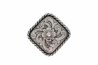 diamond concho, flower concho, rope border concho, silver concho, nickel concho