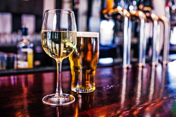Wine and Beer Glasses at a Bar
