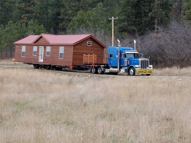delivering a cabin