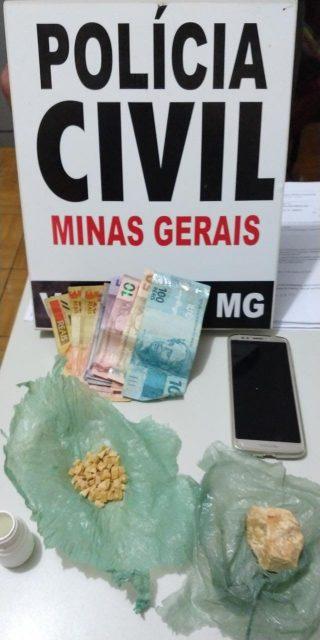 Polícia Civil prende rapaz com 61 pedras de crack em Vazante