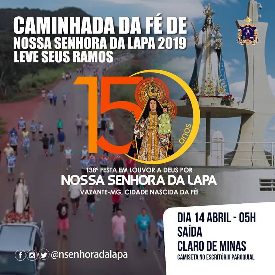 Fiéis participarão da Caminhada da Fé neste domingo