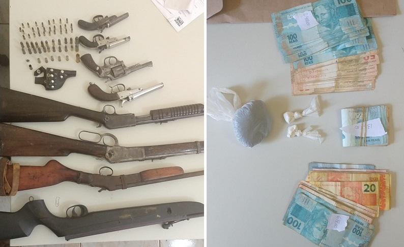 Armas, drogas e dinheiro são apreendidos pela Polícia Civil de Vazante no final de semana