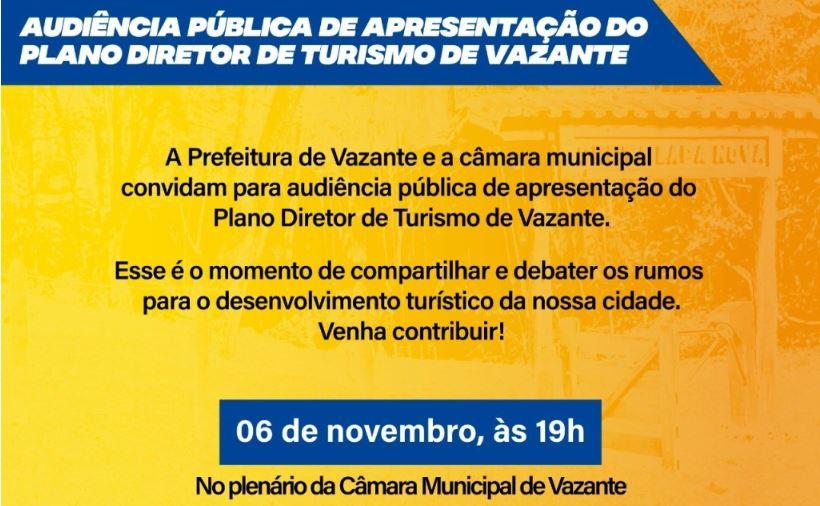Plano Diretor de Turismo de Vazante será apresentado em Audiência Pública em novembro