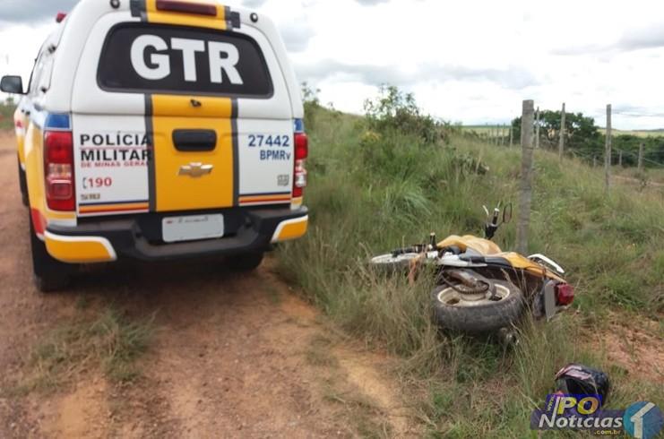 Motociclista foge de abordagem policial e se envolve em acidente na MGC-354 no município de Lagamar
