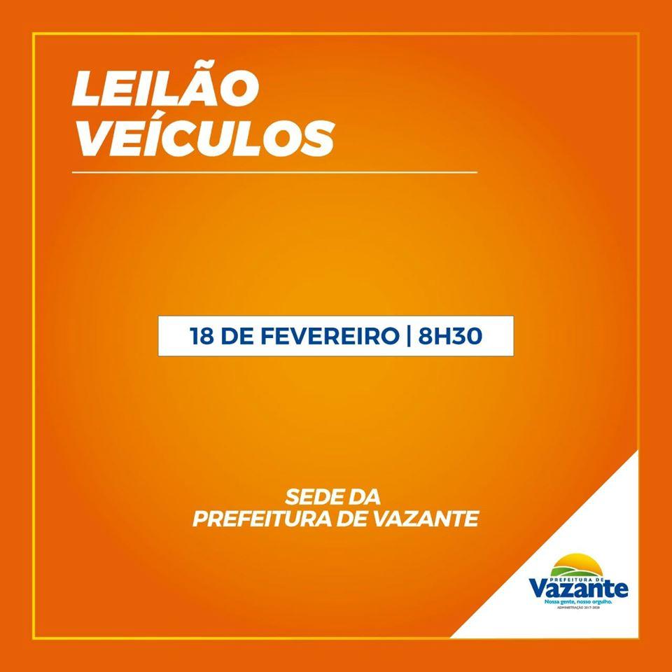 Prefeitura de Vazante fará leilão de veículos em fevereiro