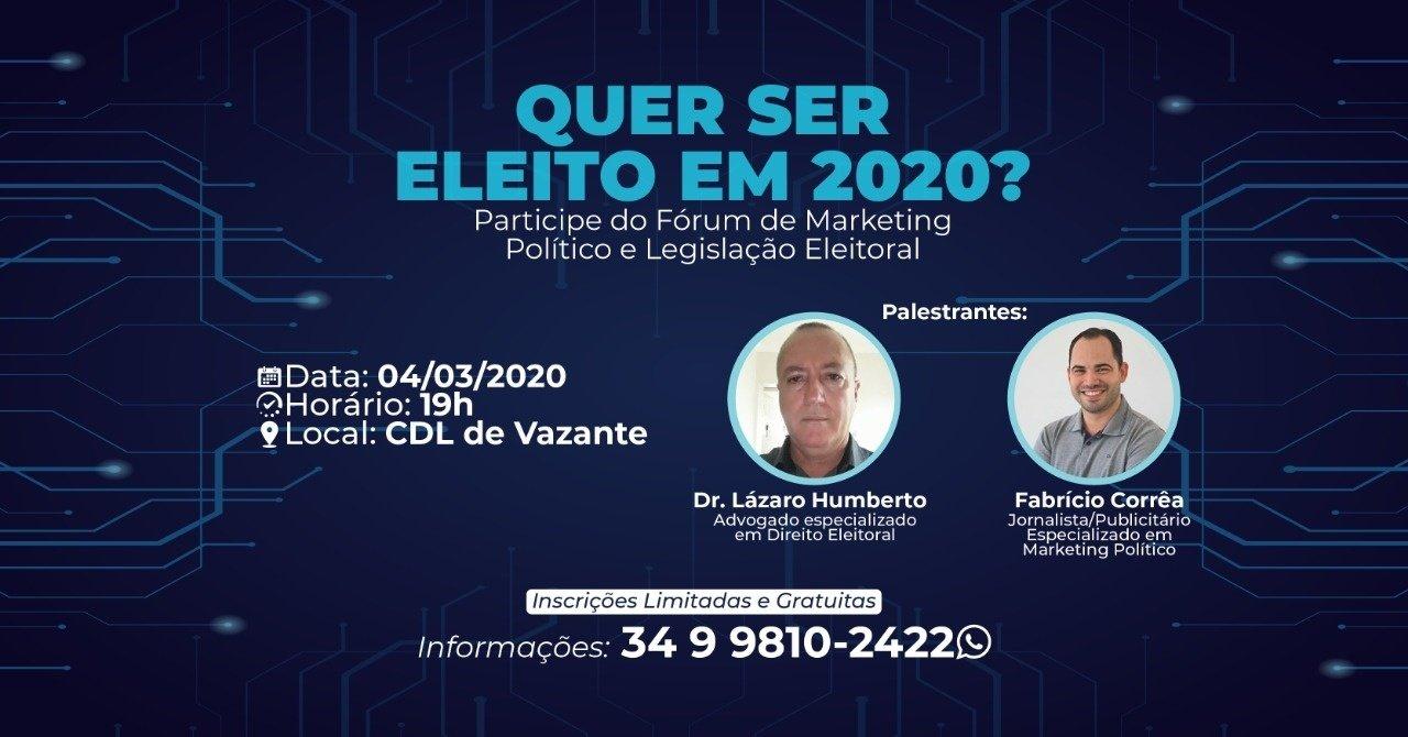 Fórum de Marketing Político será realizado nesta quarta-feira em Vazante. ENTREVISTA