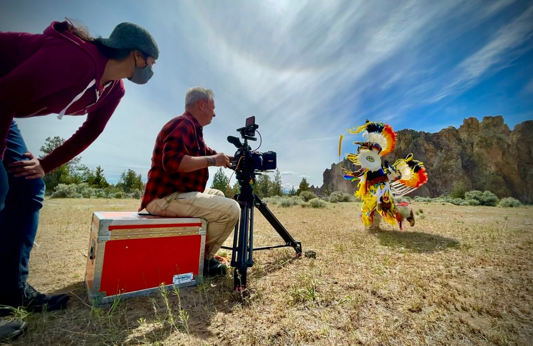 Director Shilpa Sunthankar looks on during the filming of Northstar Native American dancer Perry Thompson.