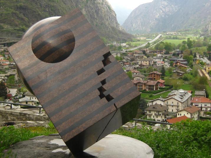 Modern art sculptures at the Forte di Bard © montblancfamilyfun