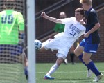 Sam Dickinson takes a shot on goal against Riverside during the state championship match at Roanoke College.