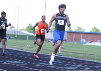 Blacksburg's Cole Beck wrapped up his day at the 3A state track meet with a win in the 200 m dash final. Beck was also the 100 m state champion, and anchored the state champion 4x100 relay team.