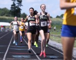 Blacksburg's Kaitlynn Wolfe (5) and Ailene Edwards (2) placed 3rd and 4th in the 800 m state championship race. The two teammates were also members of the state champion 4x800 m relay for the Bruins.