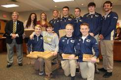 Photos by Marty Gordon Christiansburg town council took the opportunity to honor several winter sports state champions at its regularly scheduled meeting on Tuesday. The 17-time champion wrestling team was recognized along with Cassidy and Kaylyn Cromer, who both won individual indoor track and field state championships.