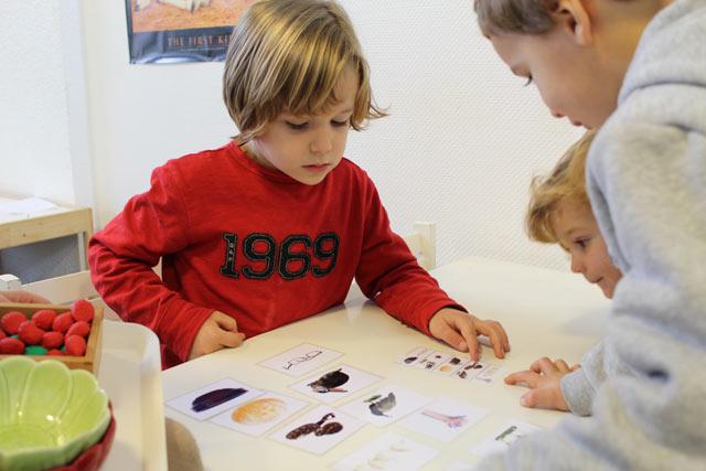 Travail sur fiches montessori international Brodeaux