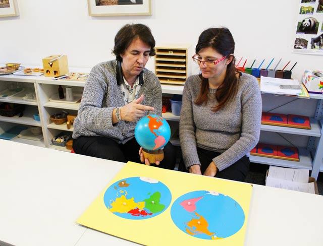 formation Montessori culture 3-6 ans : utilisation du globe