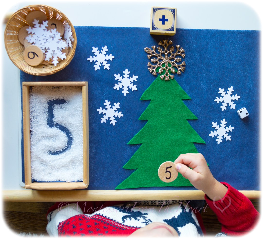 Snowflake Counting ADDITION Montessori Math Kids Winter Activity