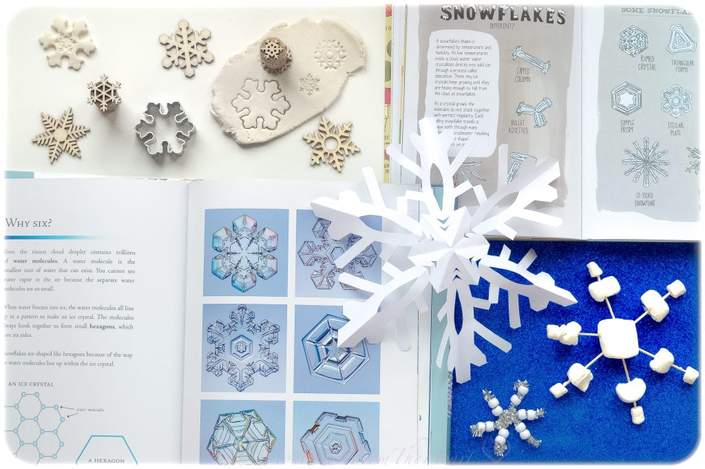 Learning about snowflakes through playdough stamping, paper craft, pipe cleaner fine motor beading and books.