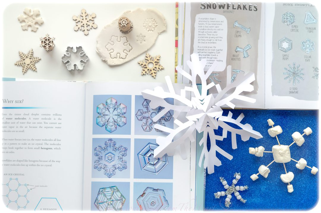 learning about snowflakes hands on through play dough stamping, snowflake paper crafting, fine motor pipe cleaner beading, kids DIY, kids activity