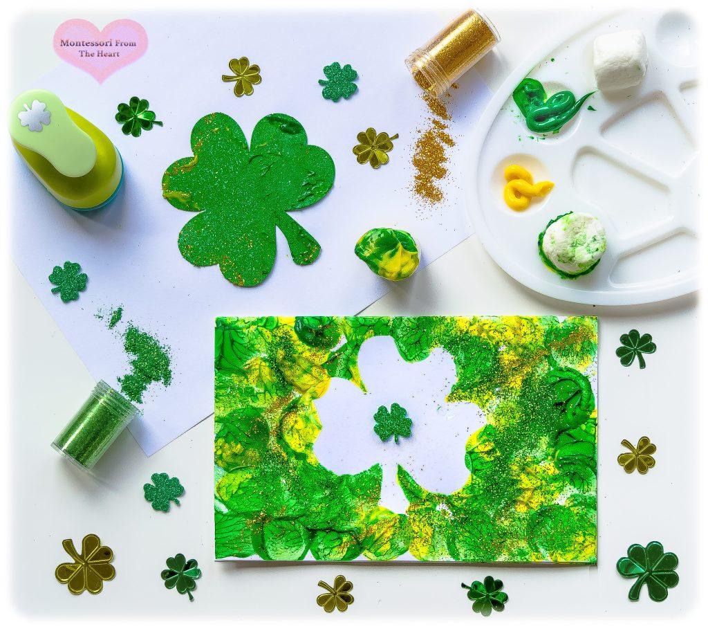 Marshmallow Shamrock Stamping Kids Craft St Patrick's Inspired