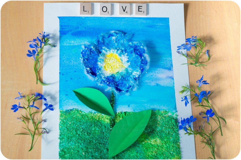 3D-Textured-Blue-Flower-Craft