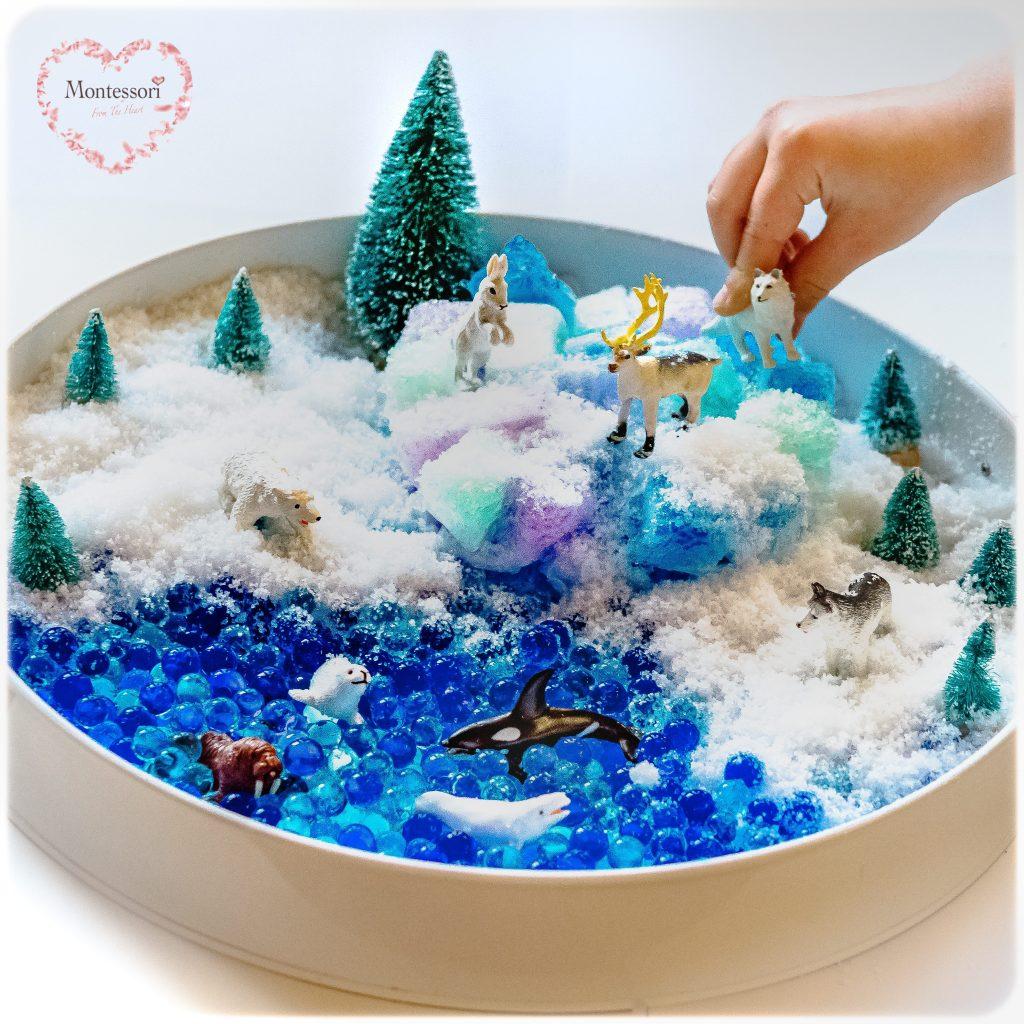 Frozen-Arctic-Waterbeads-Jello-Kmart-Tray Sensory Play