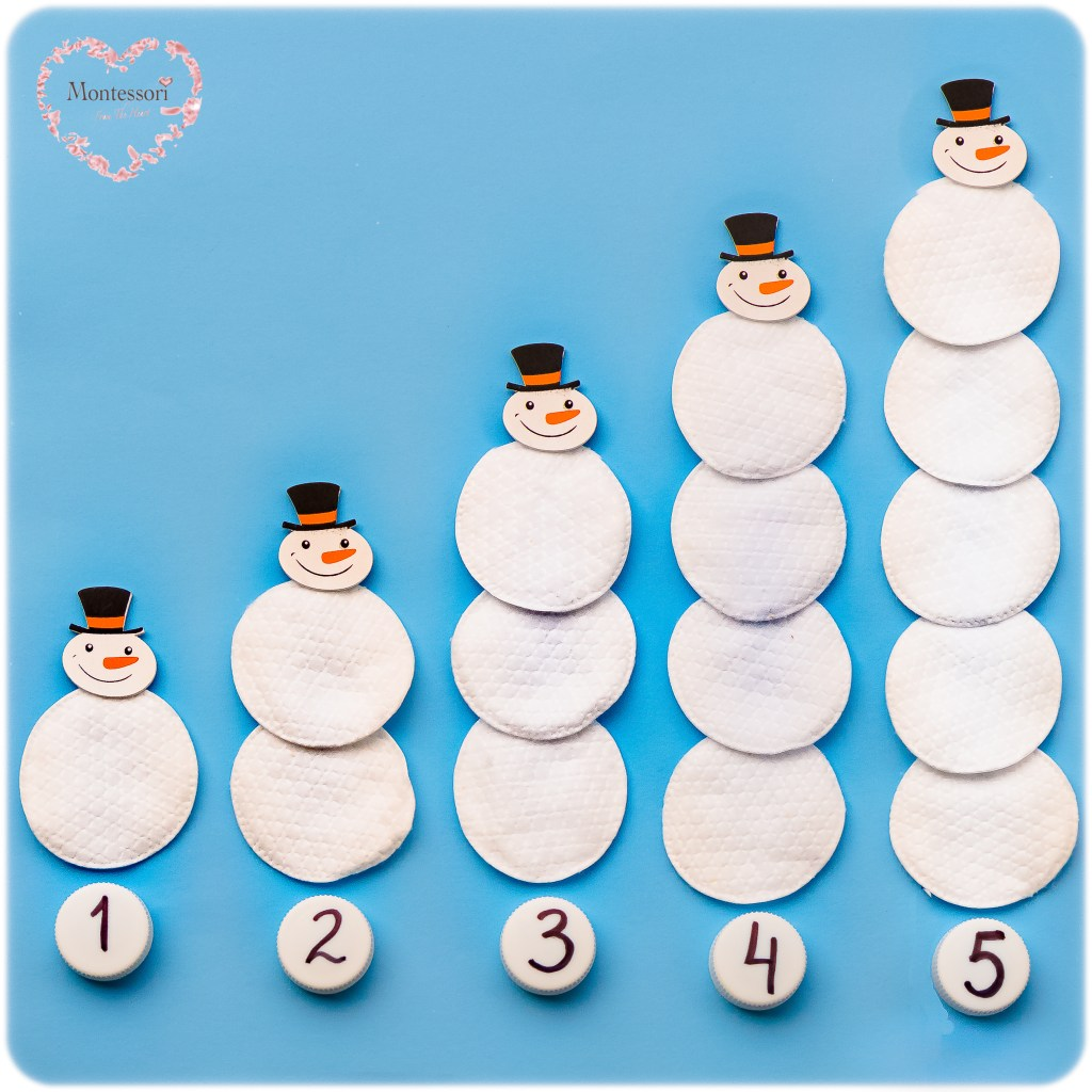 Snowmen-Facial-Pads-Count-Numbers-1-5 Montessori Math