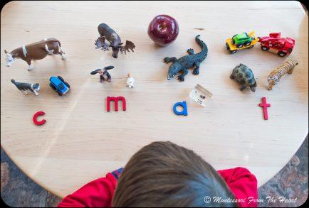 First set: c m a t-Montessori Phonetical Order