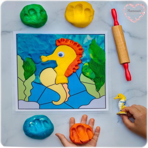SEAHORSE-Play-Dough-DIY-Color-match