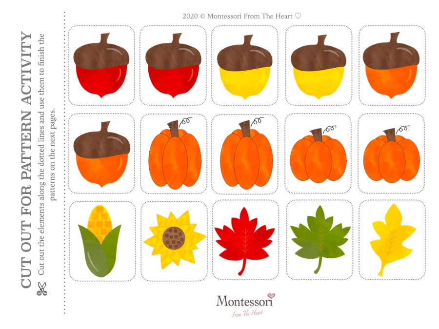 ACORNS PATTERN LOGIC THANKSGIVING Montessori KIDS ACTIVITY PACK