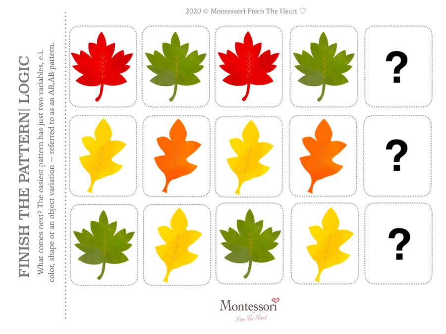 What is Next? AUTUMN LEAVES LOGIC THANKSGIVING Montessori KIDS ACTIVITY PACK