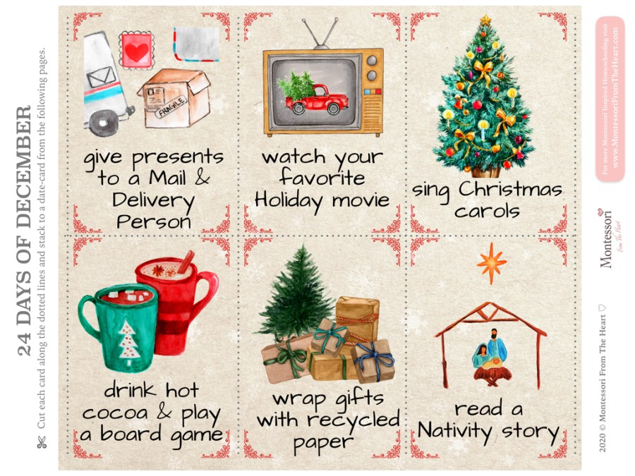 Christmas Advent Kids Pack 24 Day of December Kindness Prompts Day 19-24