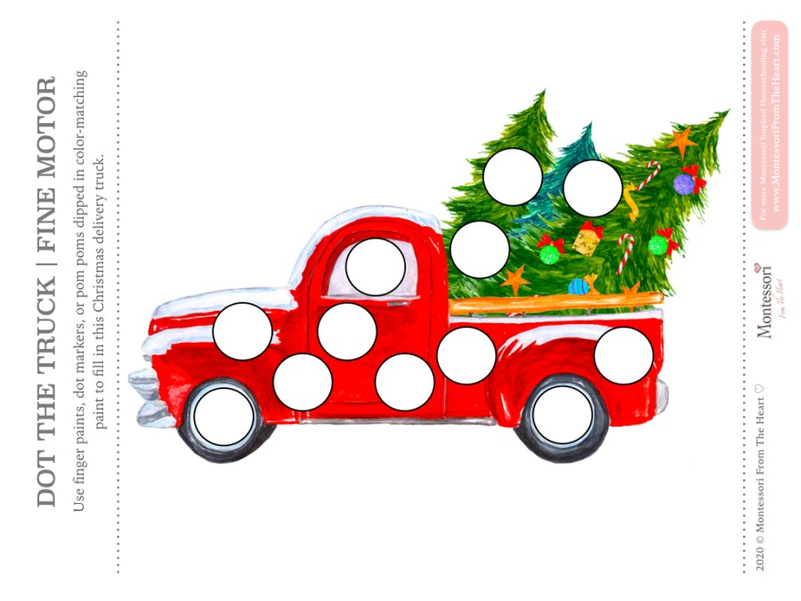 Truck DO A DOT CHRISTMAS Montessori Kids Activity Pack