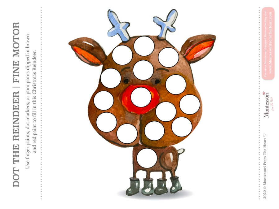 REINDEER DO A DOT CHRISTMAS Montessori Kids Activity Pack