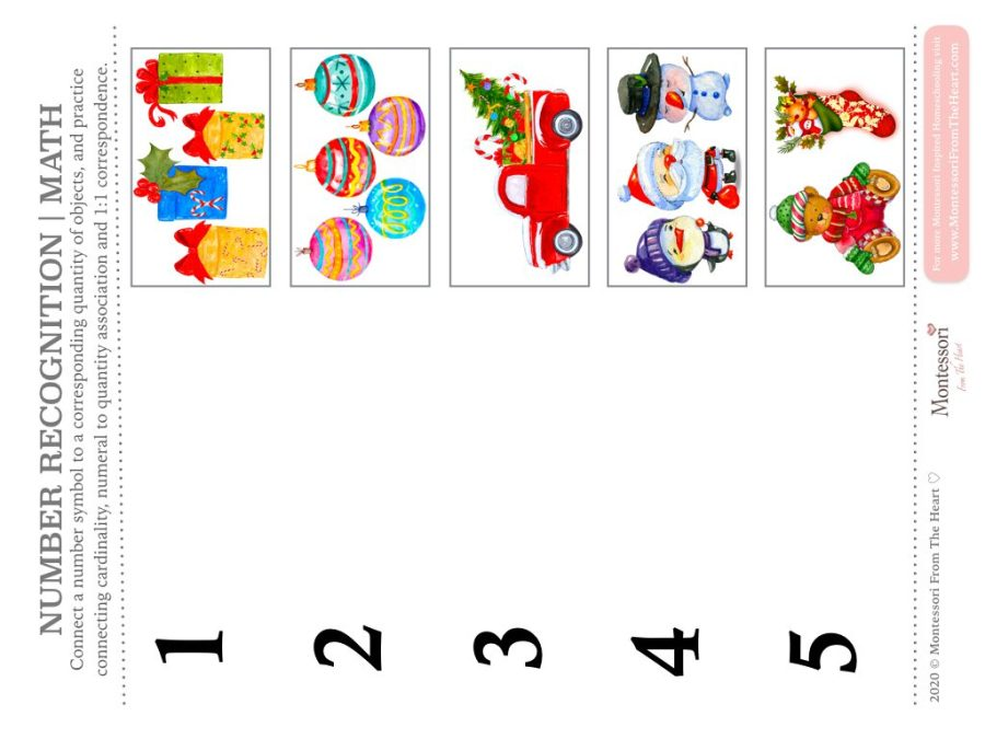 NUMBER RECOGNITION | ONE TO ONE CORRESPONDENCE NUMERACY Montessori Christmas Pack