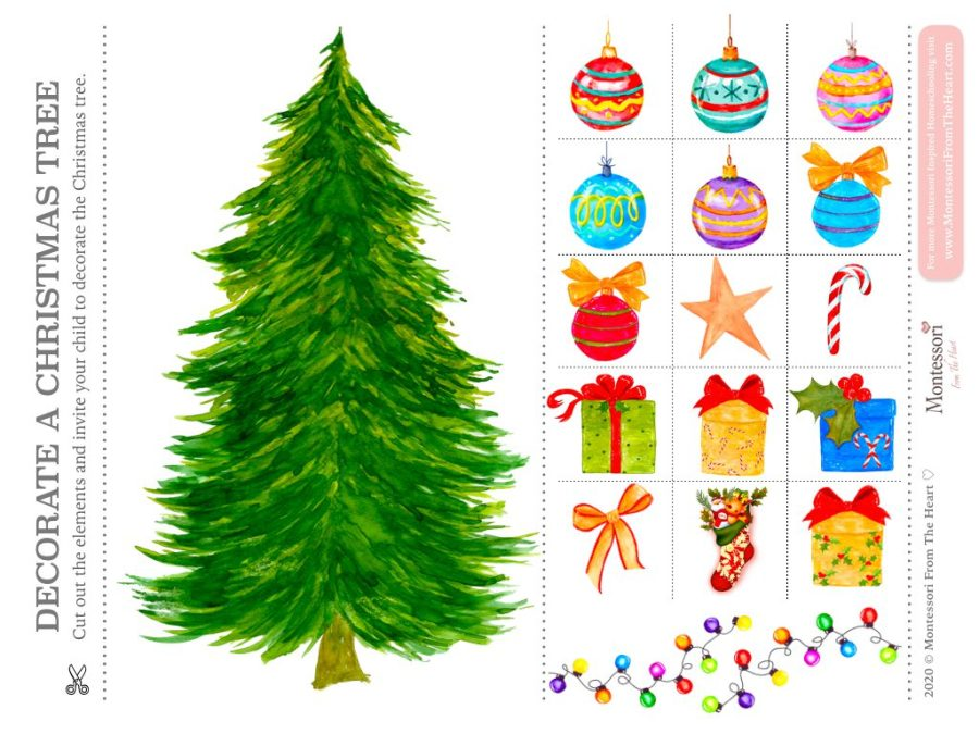 DECORATE THE TREE | Hands on learning Montessori Christmas Pack