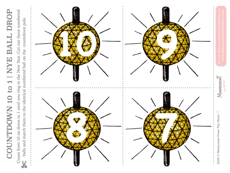 NEW YEAR COUNTDOWN BALL DROP NUMERACY ACTIVITY