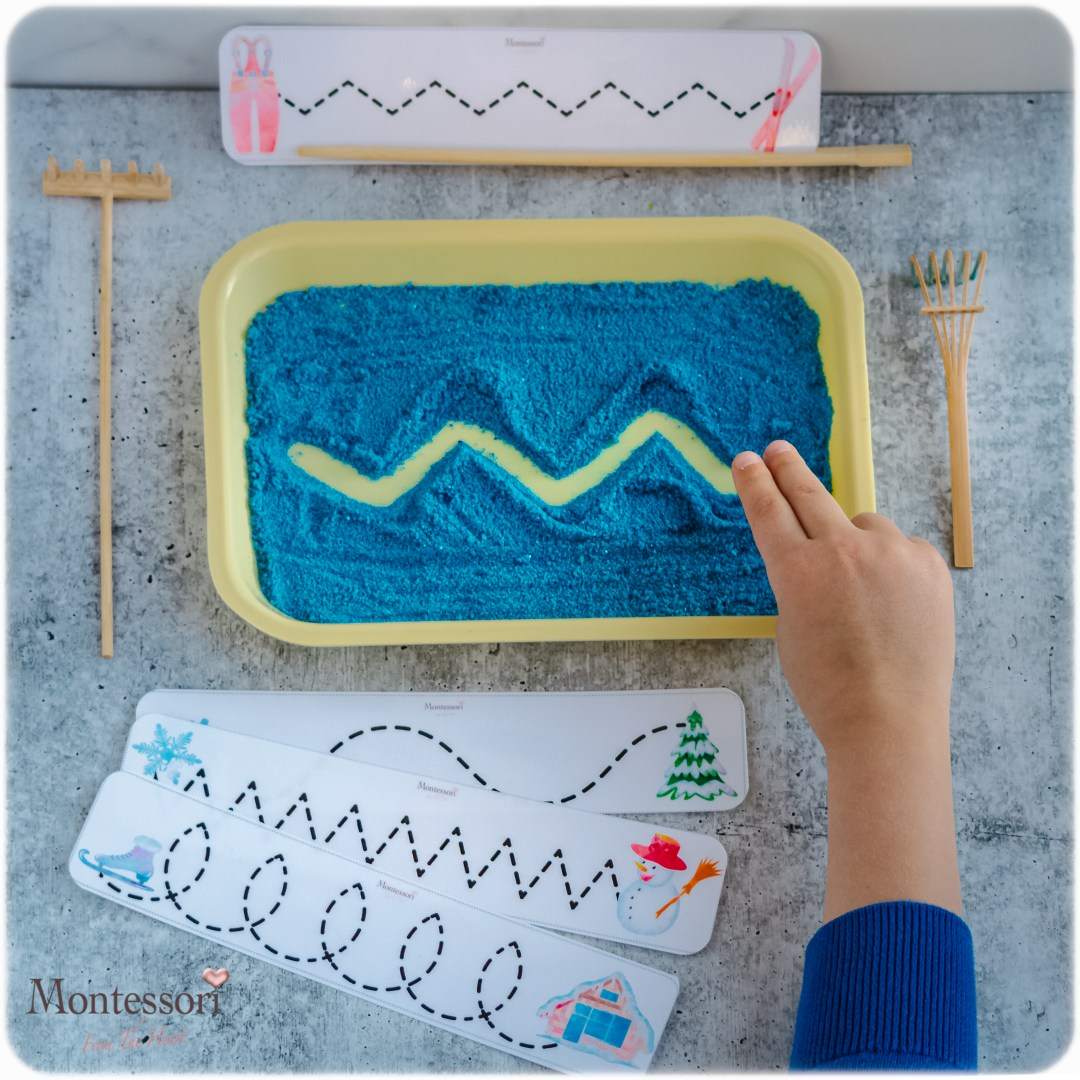 DYED SAND Montessori TRACING TRAY