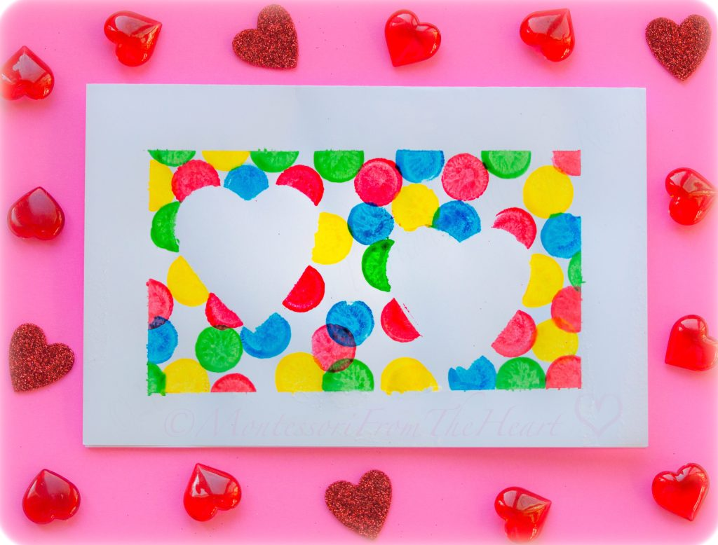 TAPE RESIST HEARTS VALENTINES CARD