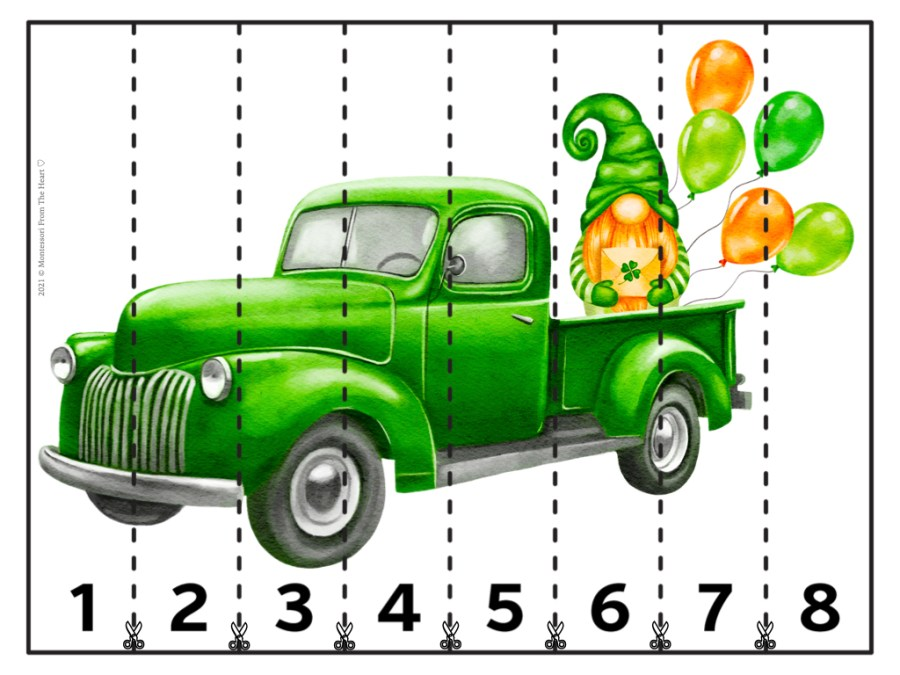 St. Patrick's Day STRIP PUZZLES FOR KIDS NUMBERED 1-7