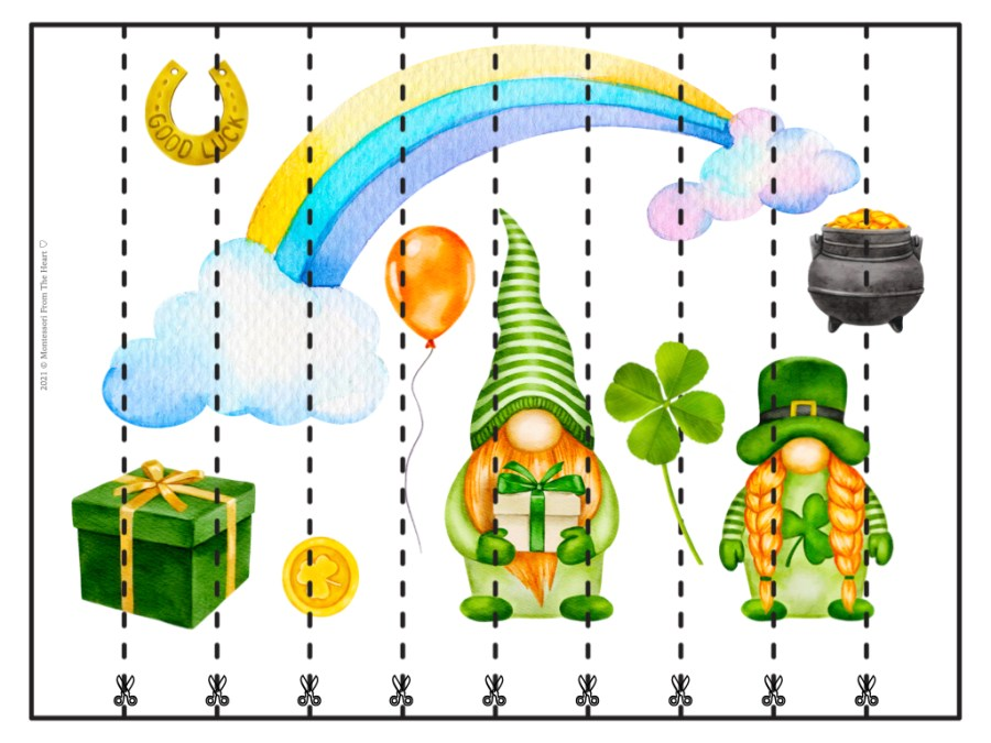 St. Patrick's Day STRIP PUZZLES FOR KIDS BLNAK 10 STRIPS
