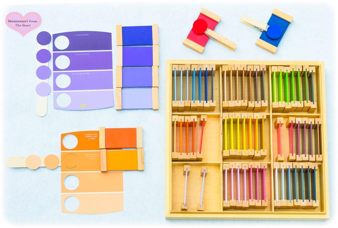 *Paint-Samples-Dot-Puncher-DIY-Montessori-Color Tablets-Box-3-shades