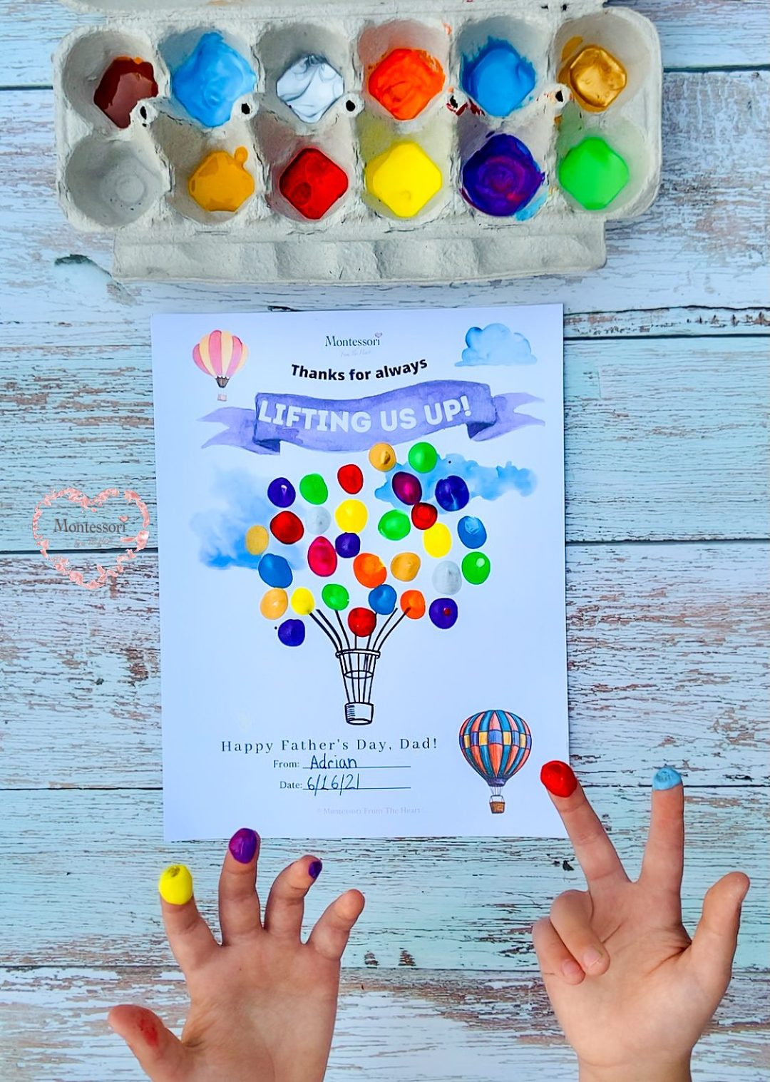 *Father's Day Finger Paint Balloons Card Thanks for Lifting Us UP!