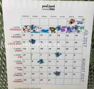 prázdninový kalendár Prečítané leto