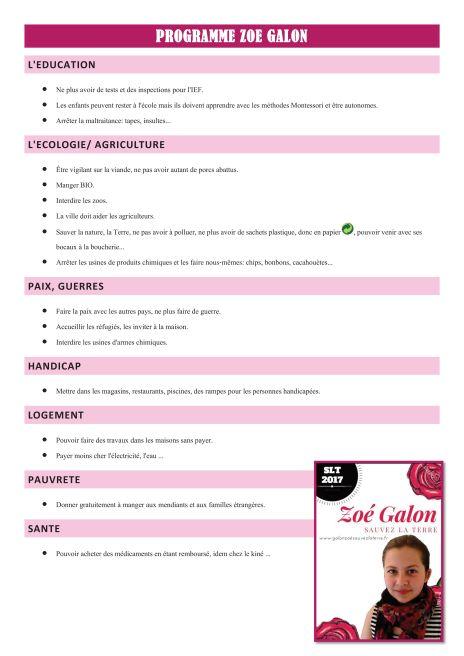 Programme Zoé Galon 2017