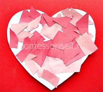 Đính trái tim từ những mảnh giấy