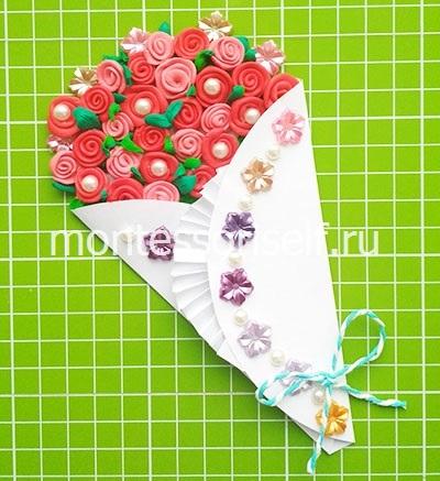 Buquê de rosas de plasticina para aniversário