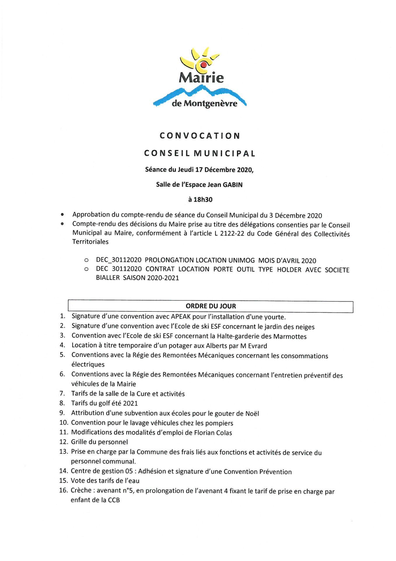 Convocation Conseil Municipal du 3 décembre 2020 - Page 1 © Mairie de Montgenèvre