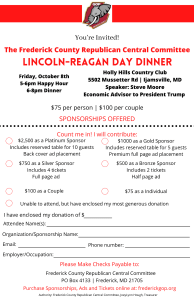 Frederick County Republican Central Committee  Lincoln Reagan Dinner