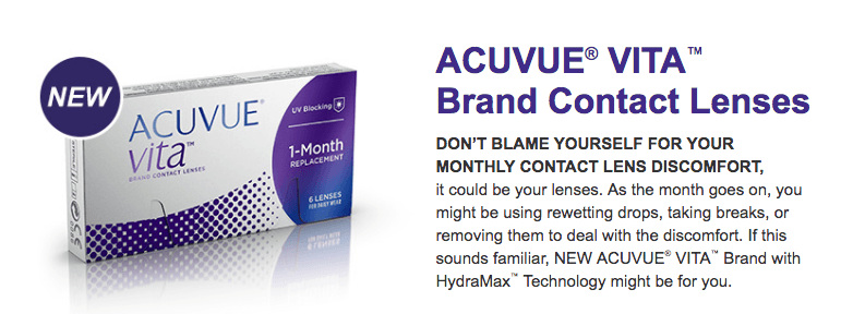 Acuvue® VITA with HydraMax™ lenses are here!